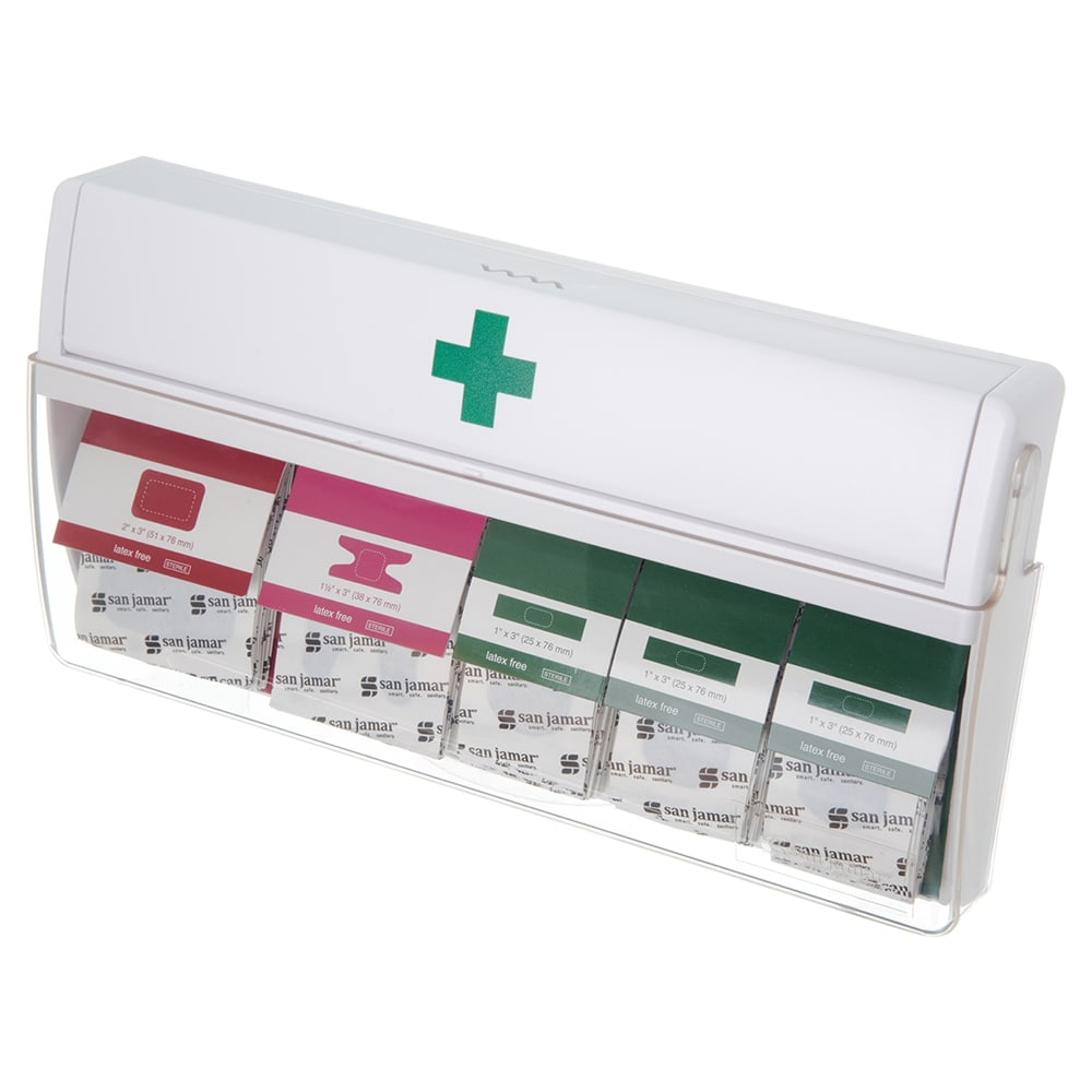 San Jamar MKBD100 Wall-Mount Mani-Kare Bandage Dispenser w/ Patch, Knuckle, & Strip Bandages