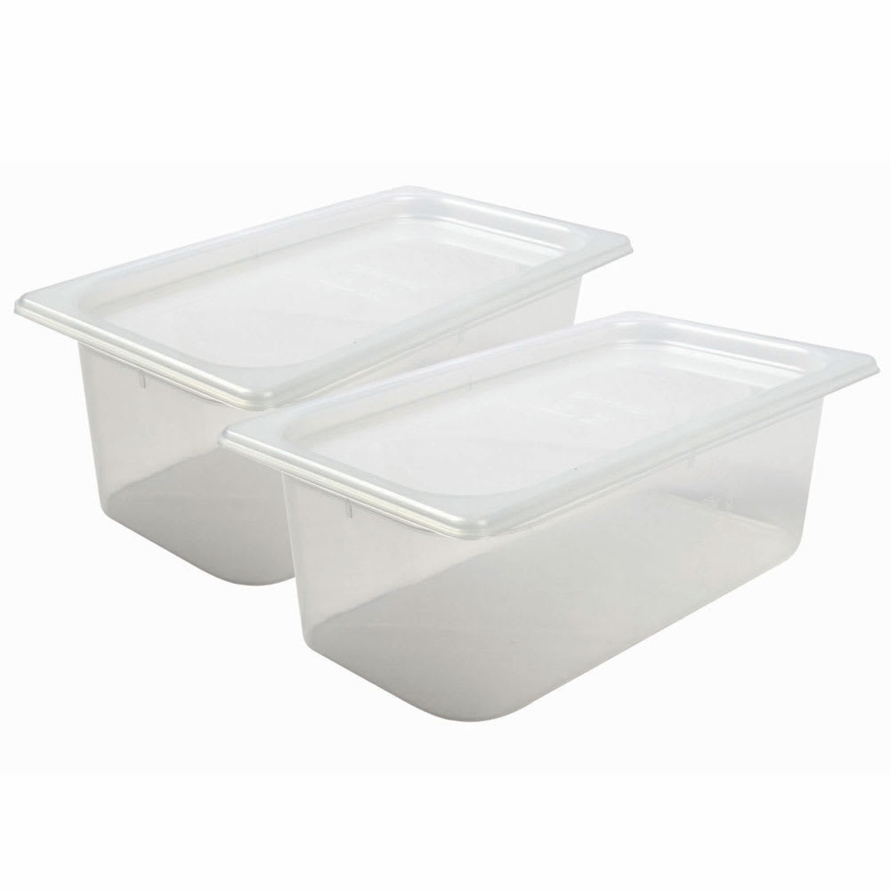 San Jamar MP13RD 1/3 Size ModPan Food Pan w/ Lid - Stackable, Polypropylene, Clear