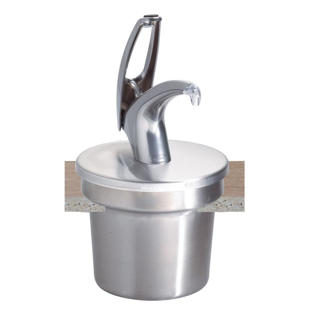 San Jamar P4710 Pump Style Condiment Dispenser w/ Cover, Chrome