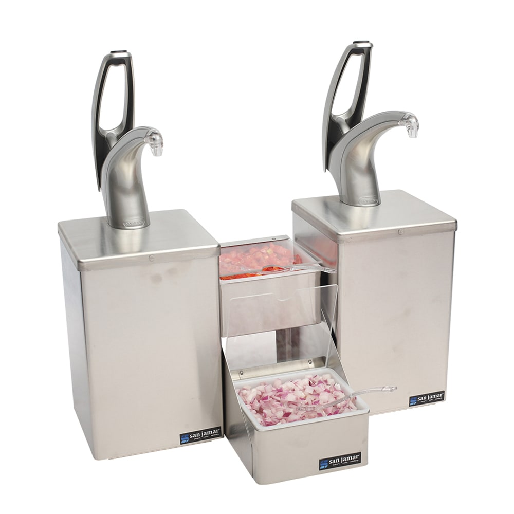 San Jamar P4826 Pump/Dipper Condiment Dispenser w/ (2) 1-oz Stroke & (1) Pans