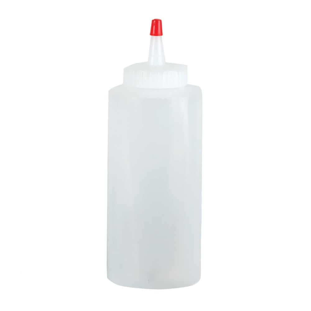 San Jamar P8012 12 oz Professional Squeeze Bottle, Clear, Red Cap