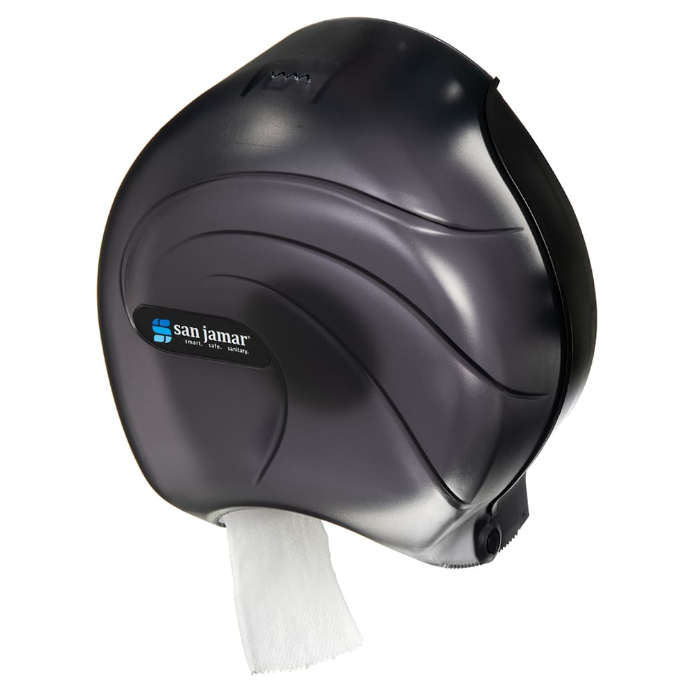 "San Jamar R2090TBK 9"" Single Jumbo Toilet Tissue Dispenser, Translucent Black Pearl"