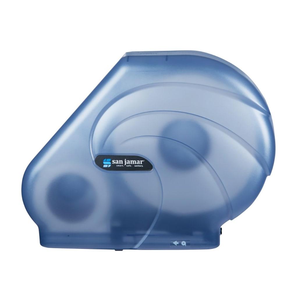 San Jamar R3090TBL Oceans Kolor-Cut Reserva Jumbo Toilet Tissue Dispenser, Translucent Blue