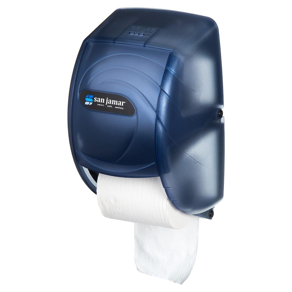 San Jamar R3590TBL Ocean Kolor-Cut Duett Bath Tissue Dispenser, Holds 2 Rolls, Trans Arctic Blue