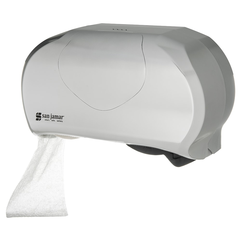 San Jamar R3670SS Wall-Mount Toilet Paper Dispenser w/ (2) Roll Capacity - Plastic, Stainless
