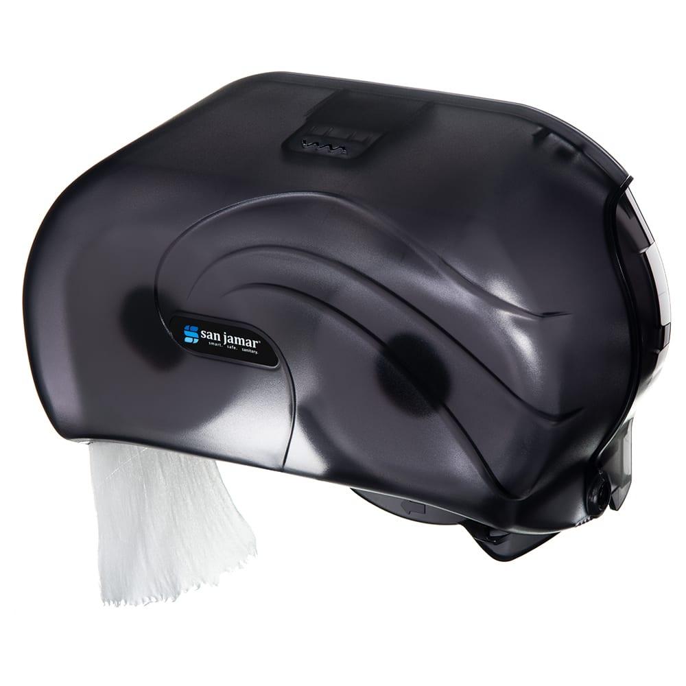 "San Jamar R3690TBK Bath Tissue Dispenser - Holds 2-Rolls, 8-3/4x6-3/4x12-3/4"", Plastic, Black Pearl"