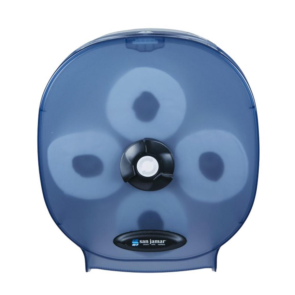 "San Jamar R3800TBL 4-Station Carousel Bath Tissue Dispenser w/ 5"" Roll Capacity & Plastic, Arctic Blue"