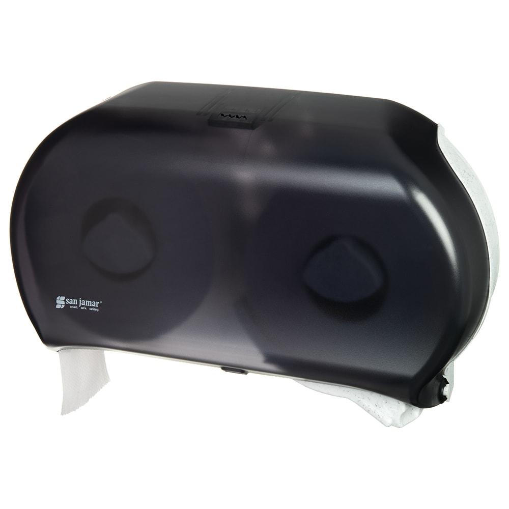 "San Jamar R4000TBK Bath Tissue Dispenser, (2) 9"" Jumbo Rolls, Translucent Black Pearl"