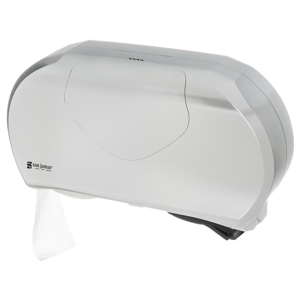 "San Jamar R4070SS Toilet Paper Dispenser - Fits (2) 9"" Jumbo Rolls, Stainless"