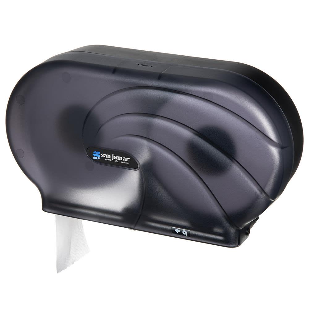 "San Jamar R4090TBK Twin 9"" Jumbo Toilet Tissue Dispenser, Oceans, Translucent Black Pearl"