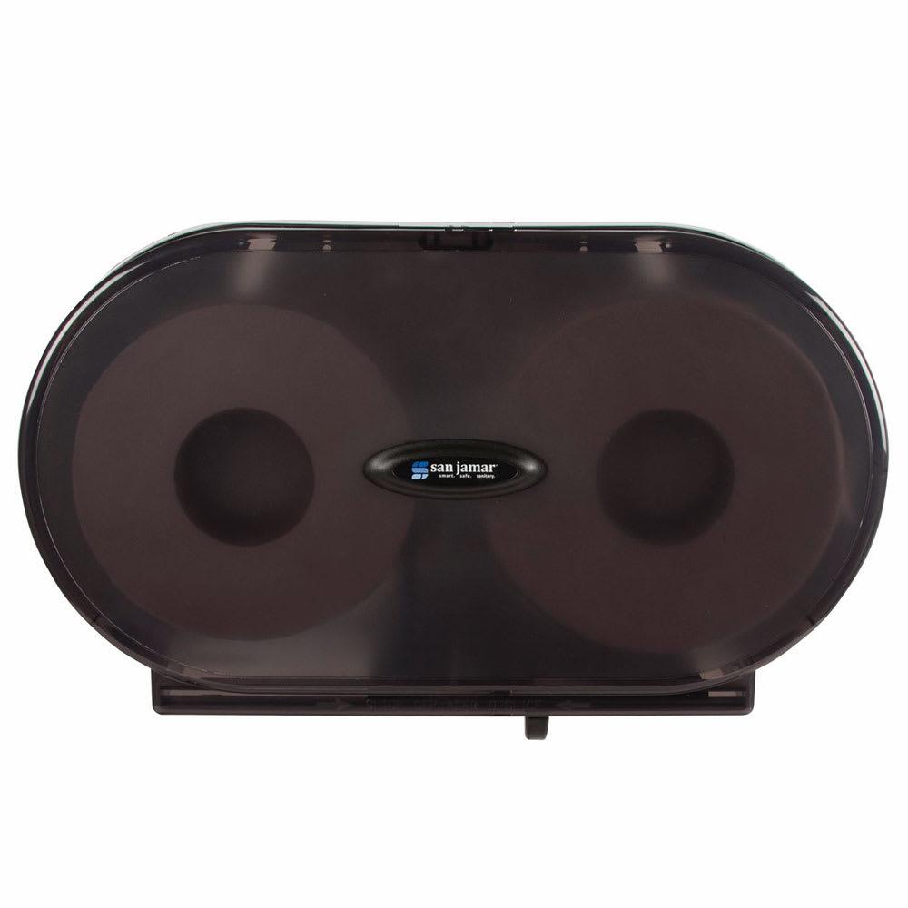San Jamar R5000TBK Wall-Mount Toilet Paper Dispenser w/ (2) Jumbo Roll Capacity - Plastic, Black