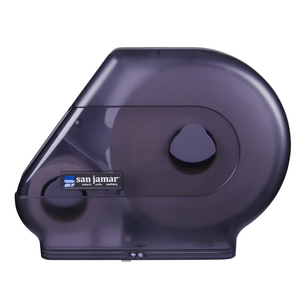 """San Jamar R6500TBK Quantum 13"""" Jumbo Toilet Tissue Dispenser, w/ Stub Roll, Trans Black Pearl"""