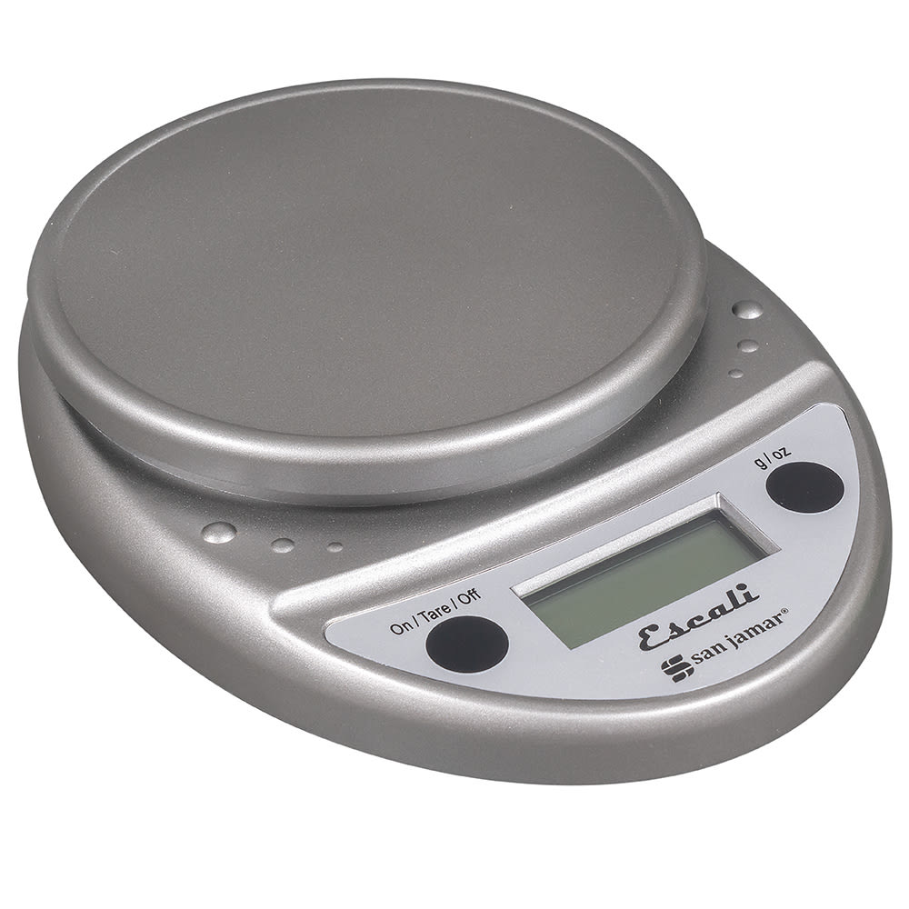 "San Jamar SCDG11M Escali 11-lb Round Digital Scale - 8.5"" x 6"", Metallic"