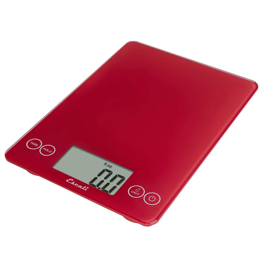 """San Jamar SCDG15RDR Escali 15 lb Digital Scale w/ Glass Platform - 9"""" x 6.5"""", Retro Red"""