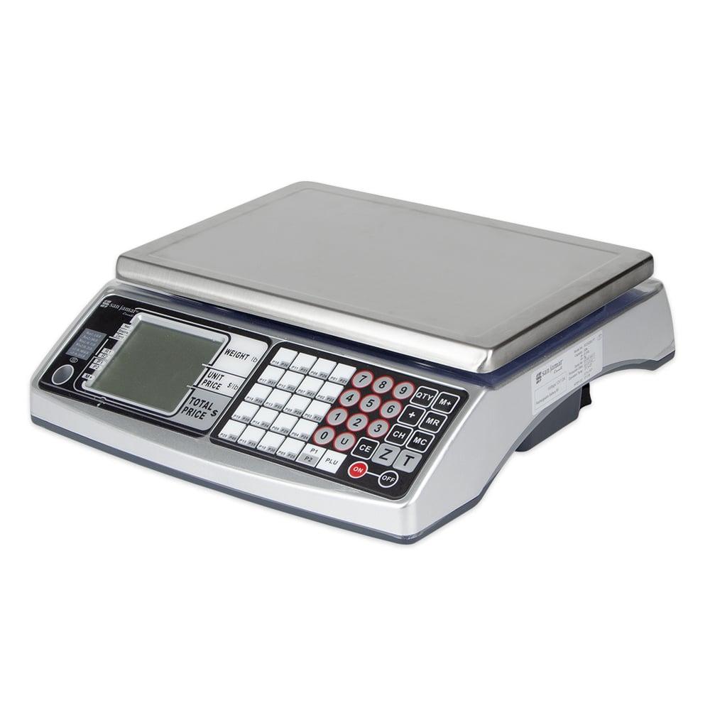 "San Jamar SCDG30LFT 30 lb Price Computing Scale w/ 12.5"" x 9"" Platform, Stainless Steel"