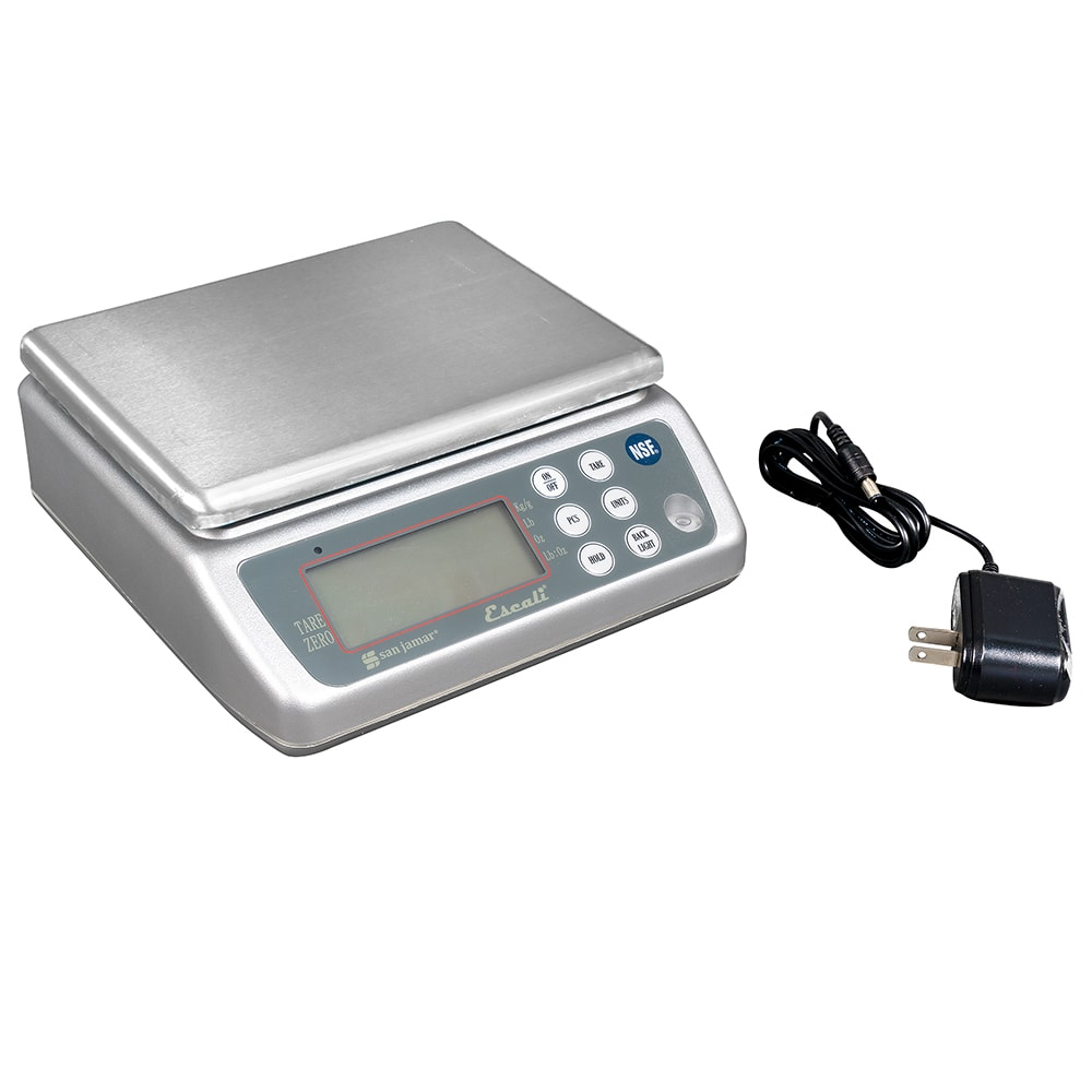 "San Jamar SCDG33WD 33-lb Rectagular Wash-Down Digital Scale - 8.25"" x 8.5"", Stainless"