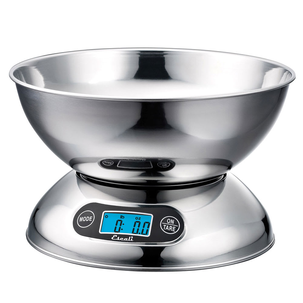 San Jamar SCDGB11 Escali 11 lb Digital Scale w/ 2 qt Removable Bowl, Stainless
