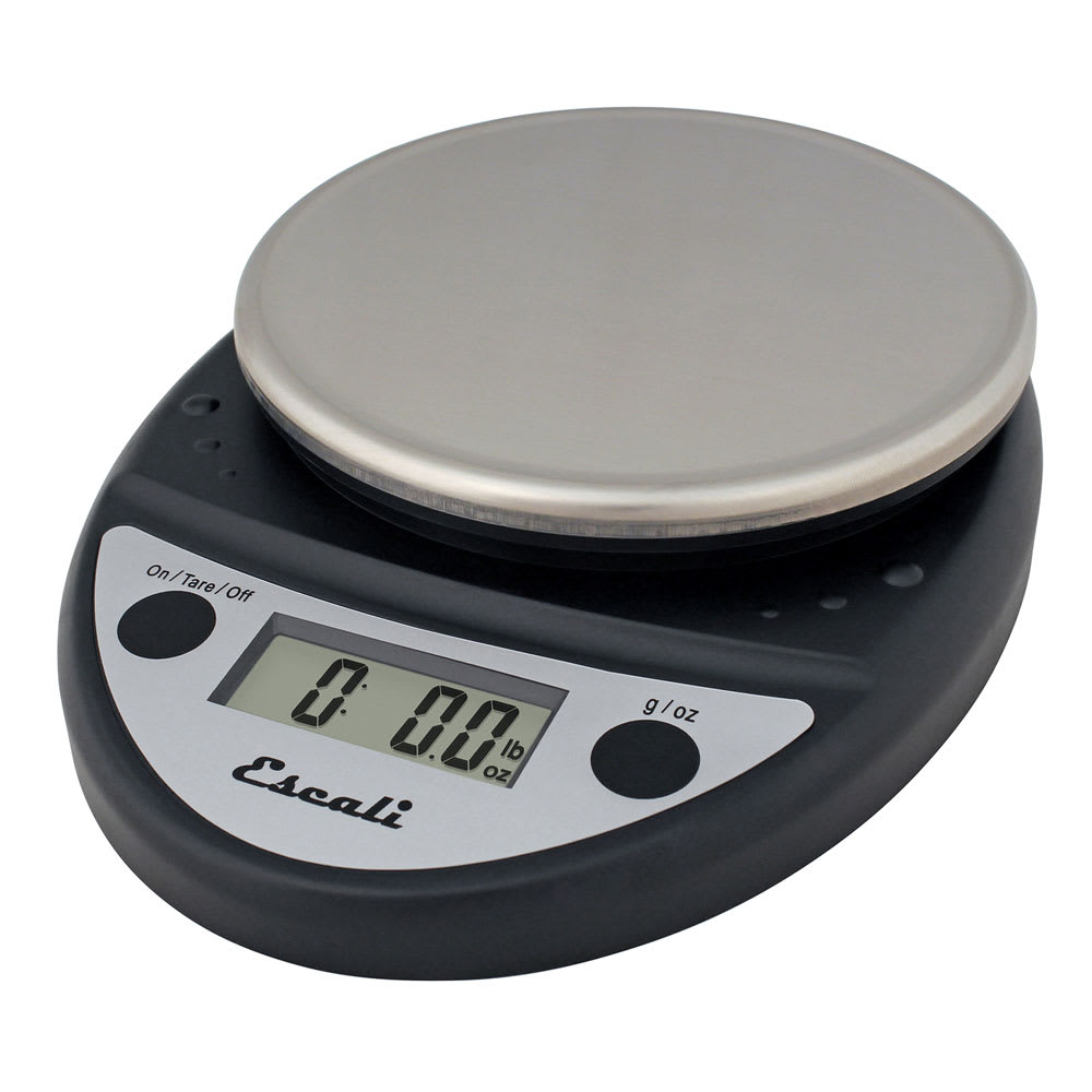"San Jamar SCDGP11BK Escali 11-lb Round Digital Scale w/ Removable Platform - 6"" x 8.5"", Charcoal Black"