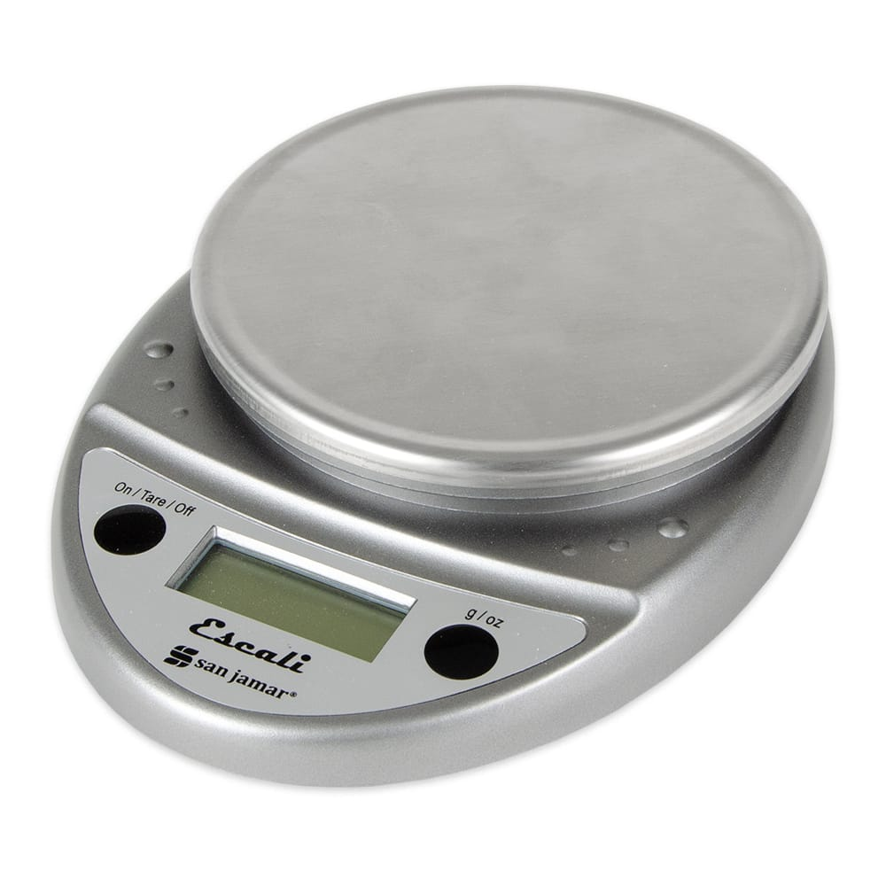 "San Jamar SCDGP11M Escali 11 lb Round Digital Scale w/ Removable Platform - 6"" x 8.5"", Metallic"