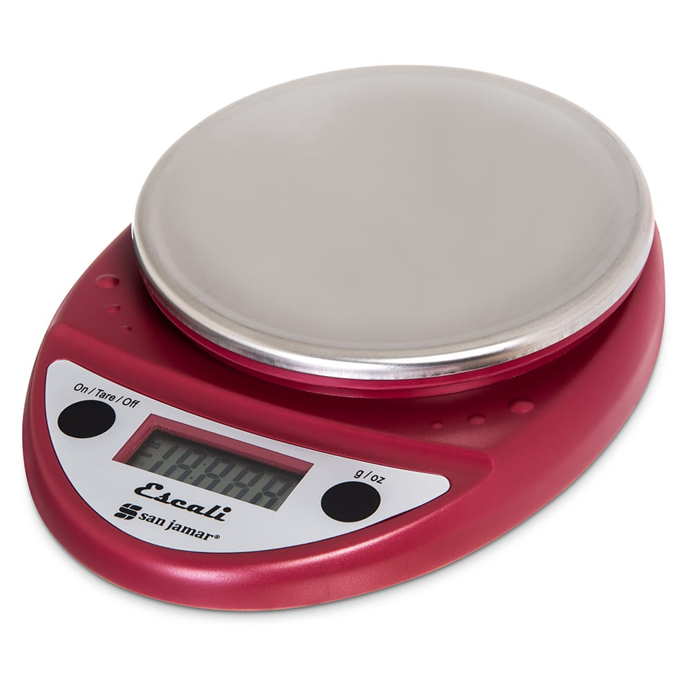 "San Jamar SCDGP11RD Escali 11 lb Round Digital Scale w/ Removable Platform - 6"" x 8.5"", Warm Red"