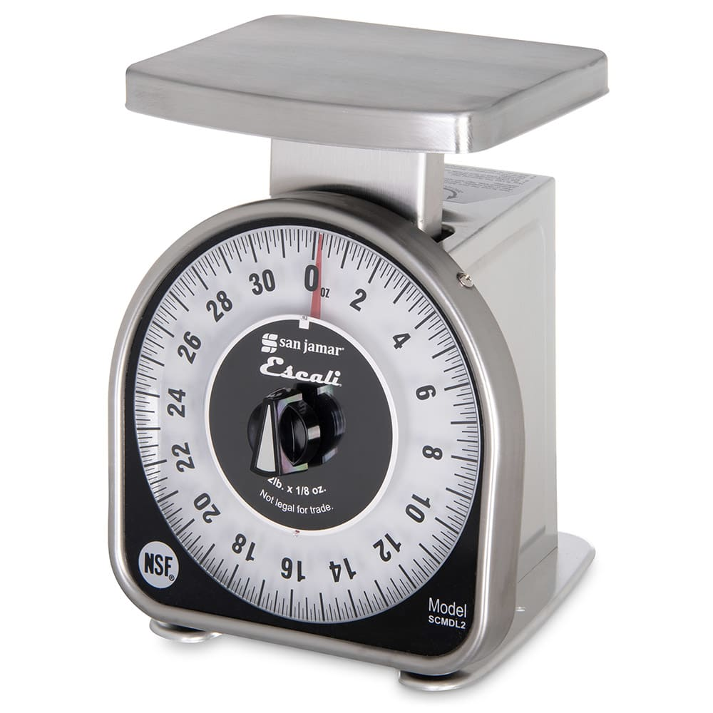 "San Jamar SCMDL2 Escali 2-lb Mechanical Dial Scale - 4.63"" x 6"", Stainless Steel"