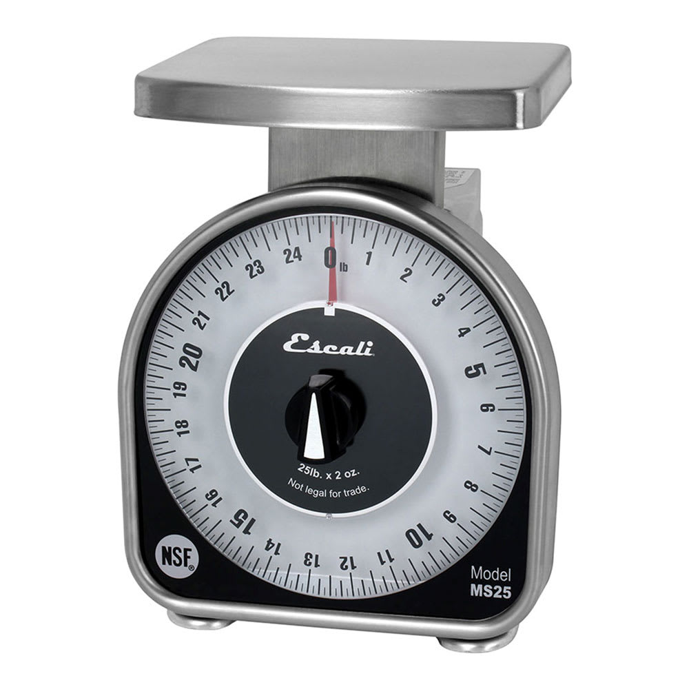 "San Jamar SCMDL25 25-lb Dial Scale - 6"" x 4.63"", Stainless"