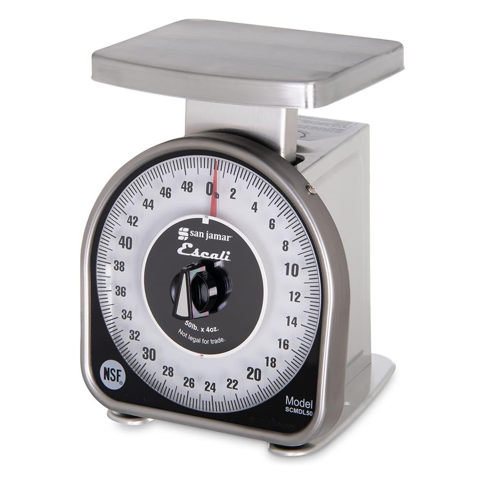 "San Jamar SCMDL50 Escali 50 lb Mechanical Dial Scale - 4.63"" x 6"", Stainless Steel"