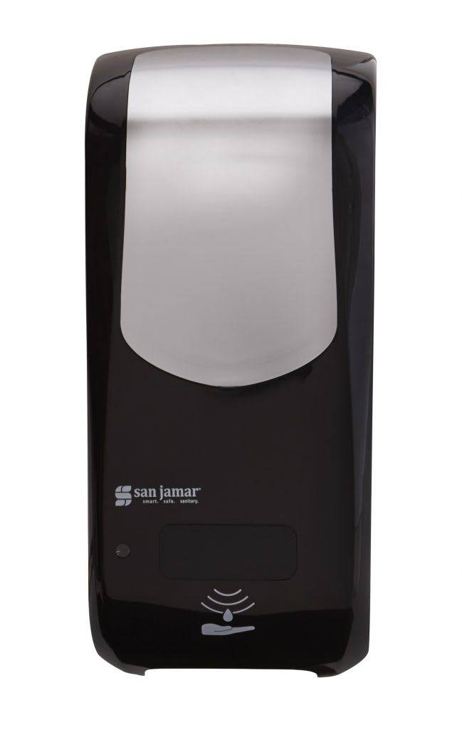 "San Jamar SHF970BKSS Wall-Mount Touch-Free Foam Soap Dispenser - 5.75"" x 12.25"", Black/Stainless"