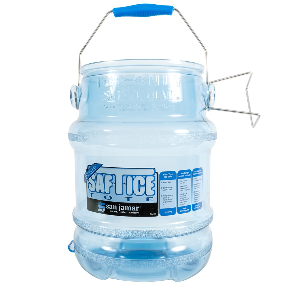 San Jamar SI6100 Round Ice Tote w/ 5 gal Capacity, Clear Blue