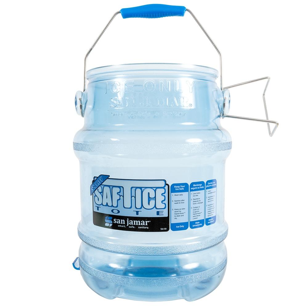 San Jamar SI6100 Round Ice Tote w/ 5-gal Capacity, Clear Blue