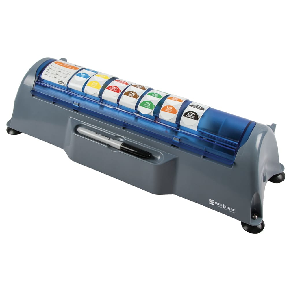 "San Jamar STL511 Countertop Saf-T-Label Dispenser for 3/4"" to 2"" Label Rolls - 20"" x 7"", Plastic"
