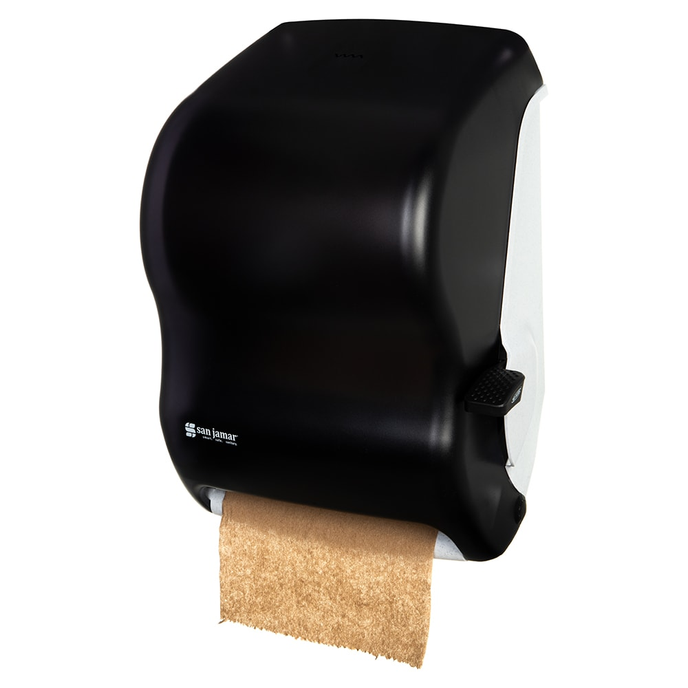 "San Jamar T1100TBK Classic Paper Towel Dispenser, Wall Mount, 8 x 8"" Roll, Lever Action, Black"