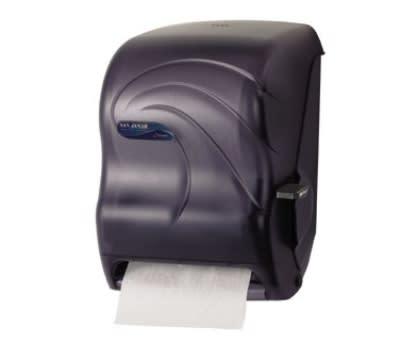 San Jamar T1290TBK Savvy Kolor-Cut Paper Towel Dispenser, 8 x 8 in Roll, Bio-Pruf Lever, Black