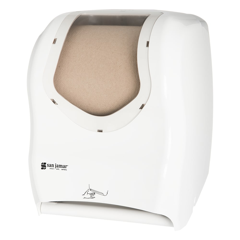 San Jamar T1470WHCL Wall-Mount Paper Towel Dispenser IQ Sensor™- Touchless, White/Clear