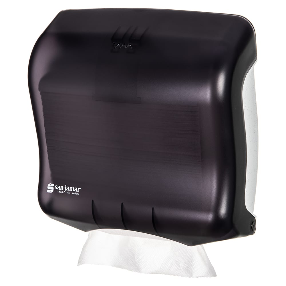 San Jamar T1750TBK Ultrafold Classic Wall Towel Dispenser - (240) C-Fold or (400) Multifold, Black Pearl