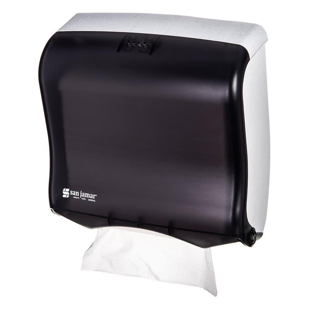 San Jamar T1755TBK Ultrafold Fusion Wall Towel Dispenser - (240) C-Fold or (400) Multifold, Black Pearl
