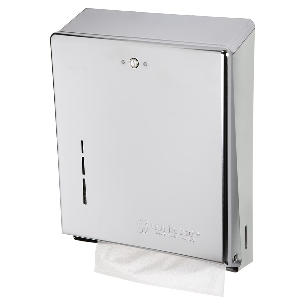 San Jamar T1900XC Classic Wall Towel Dispenser - C-Fold or Multifold, Matte Chrome