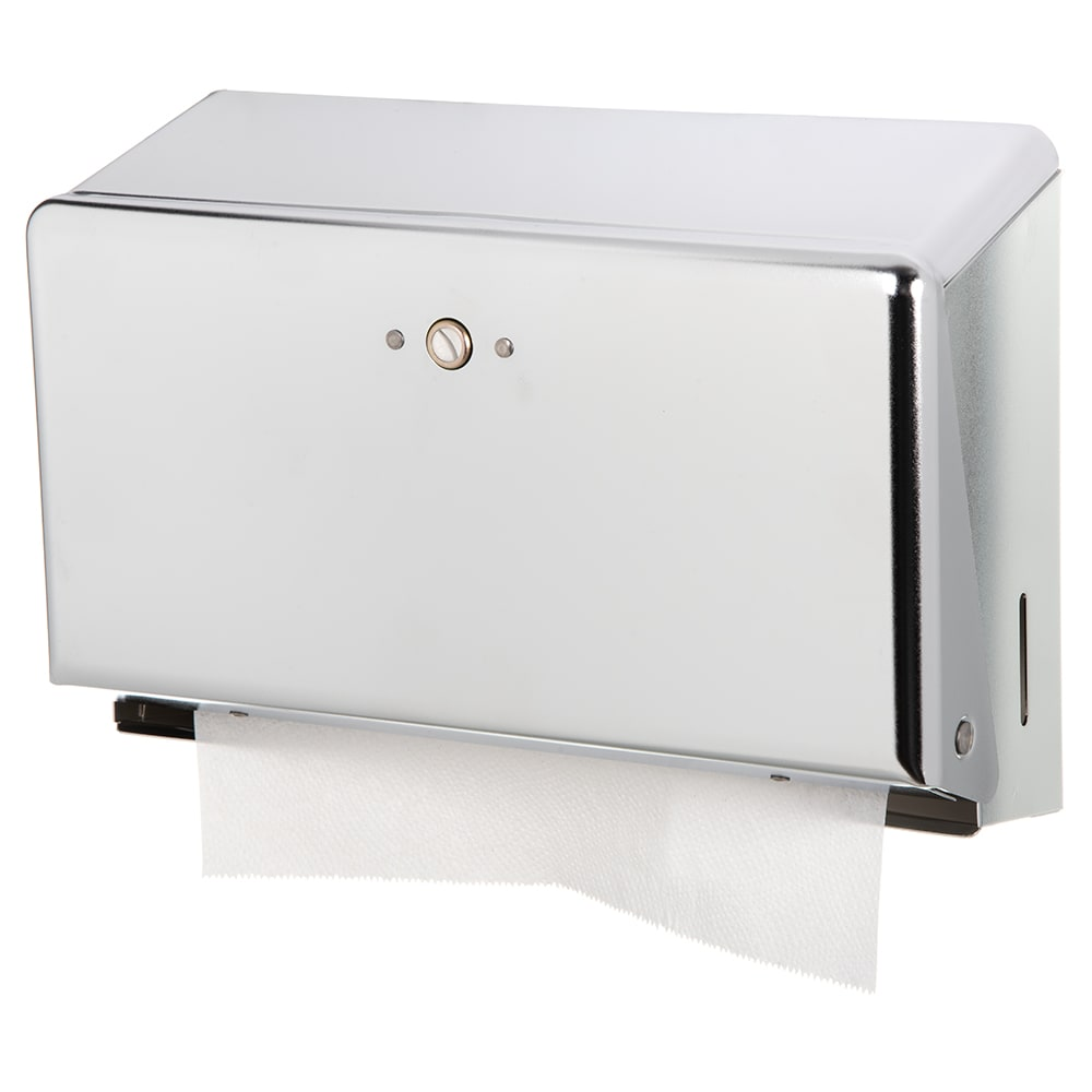 San Jamar T1950XC Classic Mini Wall Towel Dispenser - C-Fold or Multifold, Matte Chrome