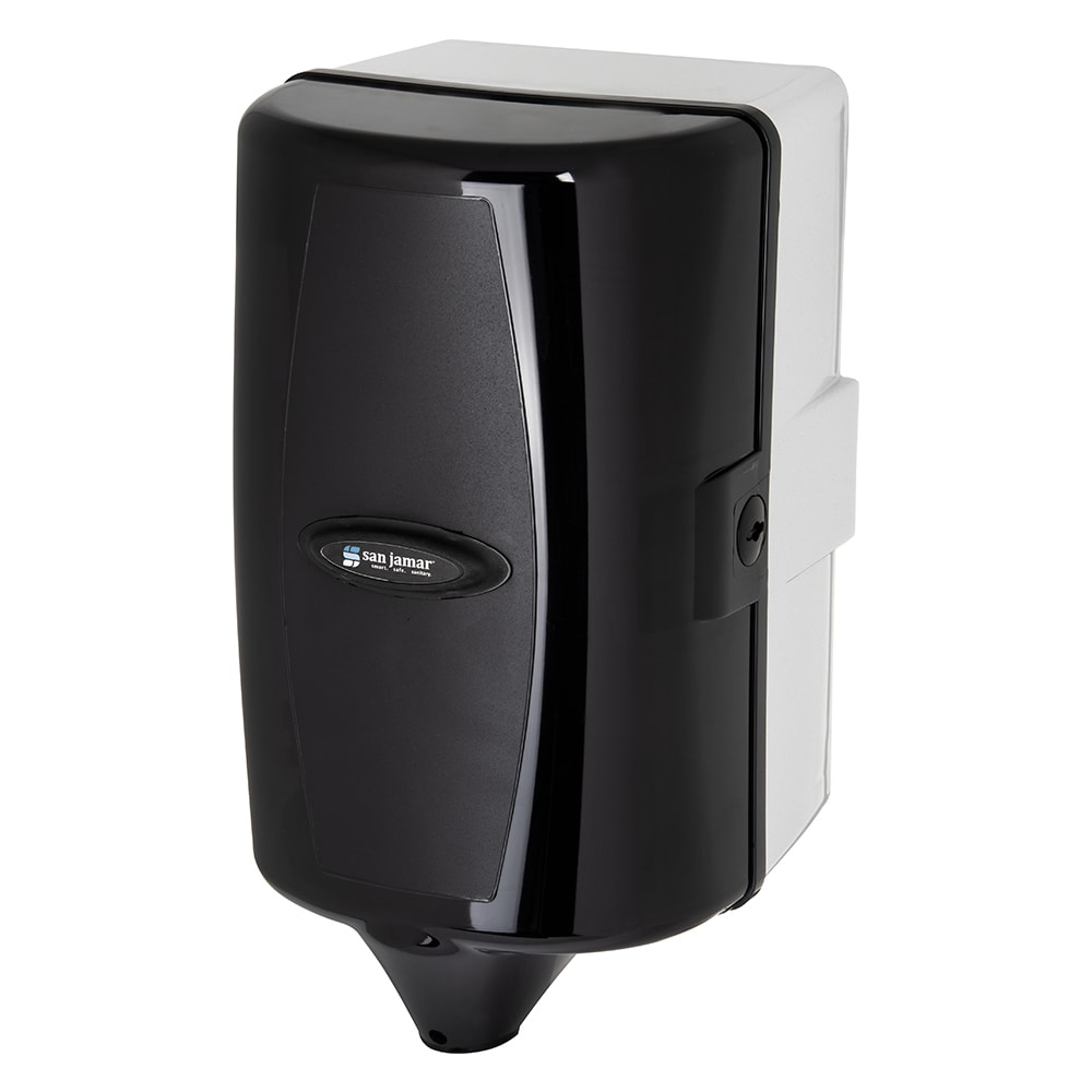 San Jamar T450TBK Wall Towel Dispenser - Adjustable Mini Centerpull, Black Pearl
