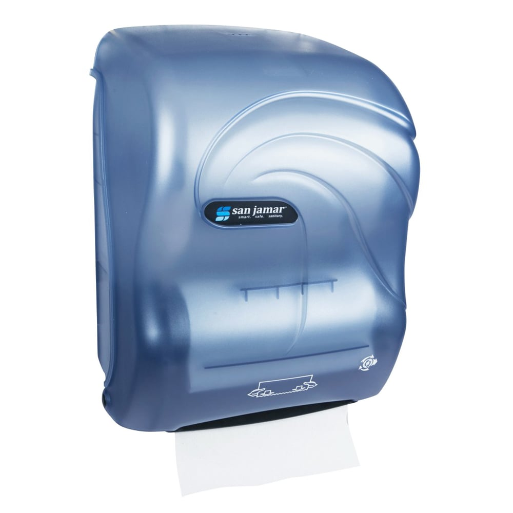 San Jamar T7090TBL Simplicity Hands Free Oceans Wall Towel Dispenser - Wide Roll, Arctic Blue