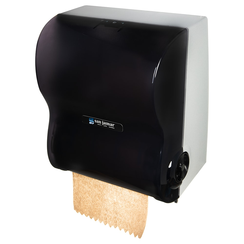 San Jamar T7100TBK Simplicity Hands Free Classic Wall Towel Dispenser - Wide Roll, Black Pearl