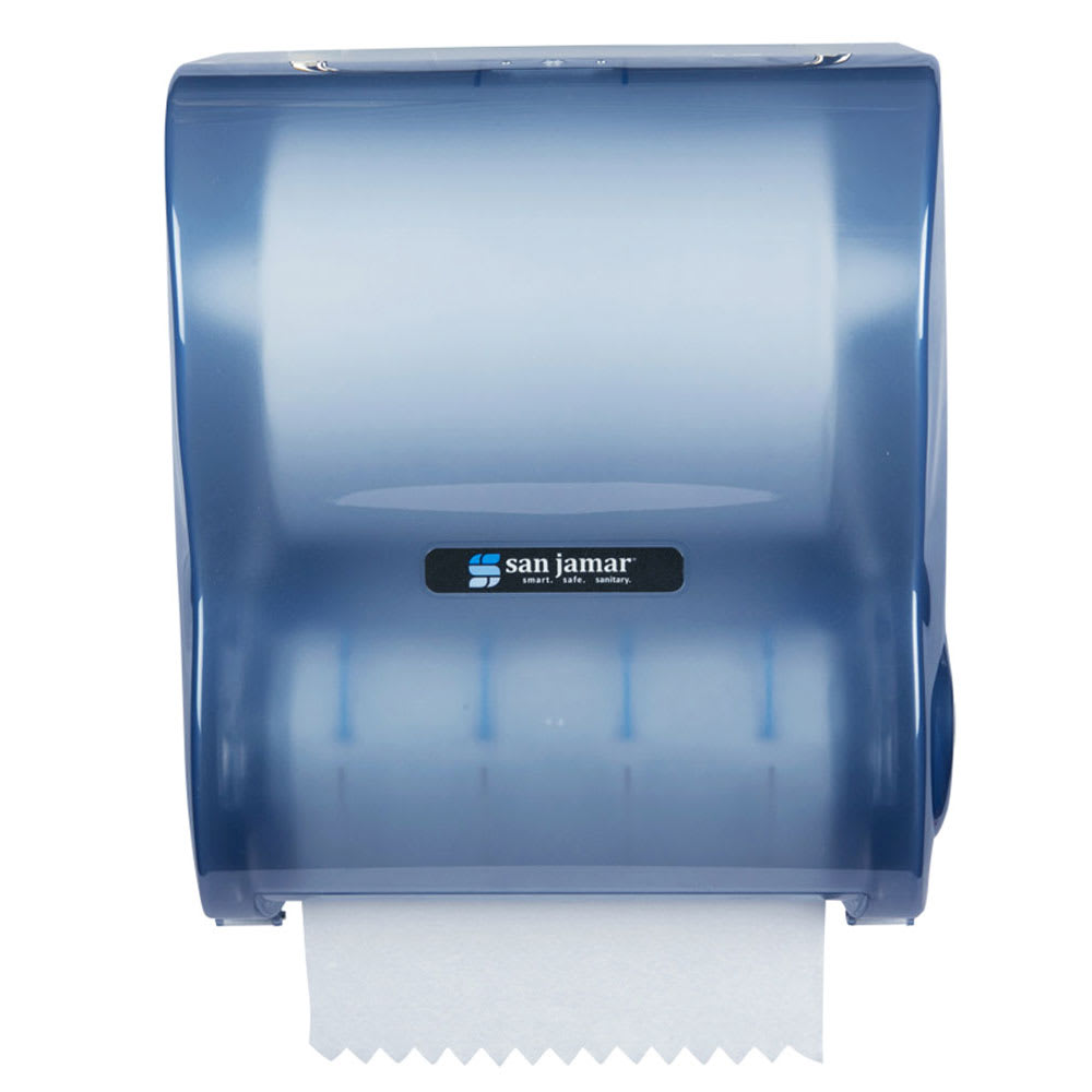 San Jamar T7100TBL Simplicity Hands Free Classic Wall Towel Dispenser - Wide Roll, Arctic Blue
