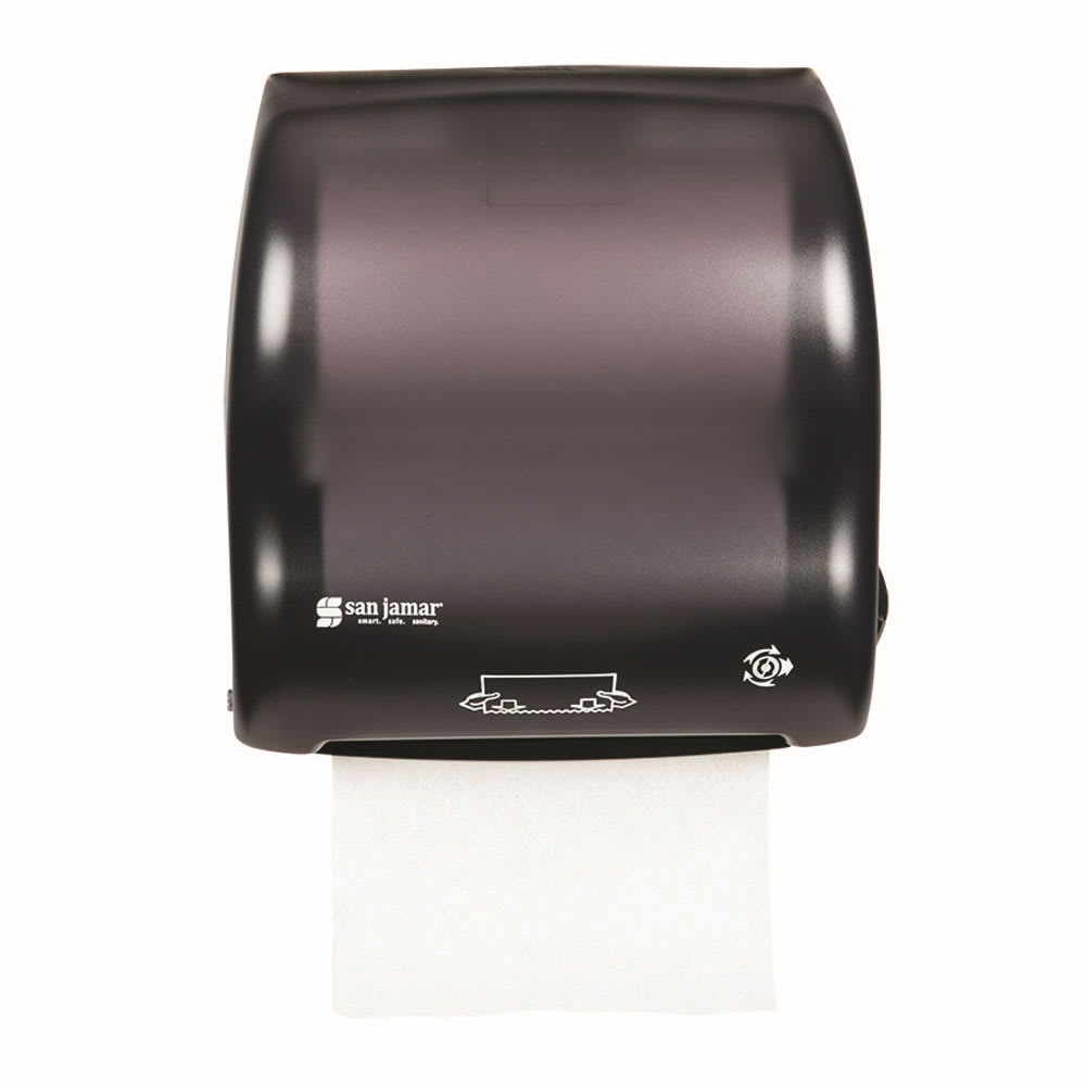 San Jamar T7500TBK Simplicity Hands Free Classic Wall Towel Dispenser - Wide Roll, Black Pearl