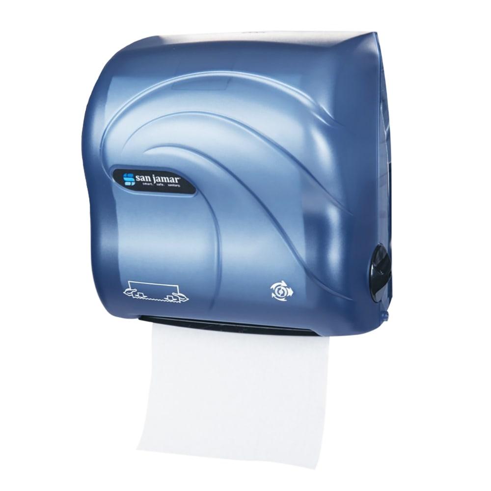 San Jamar T7590TBL Simplicity Hands Free Oceans Wall Towel Dispenser - Wide Roll, Arctic Blue