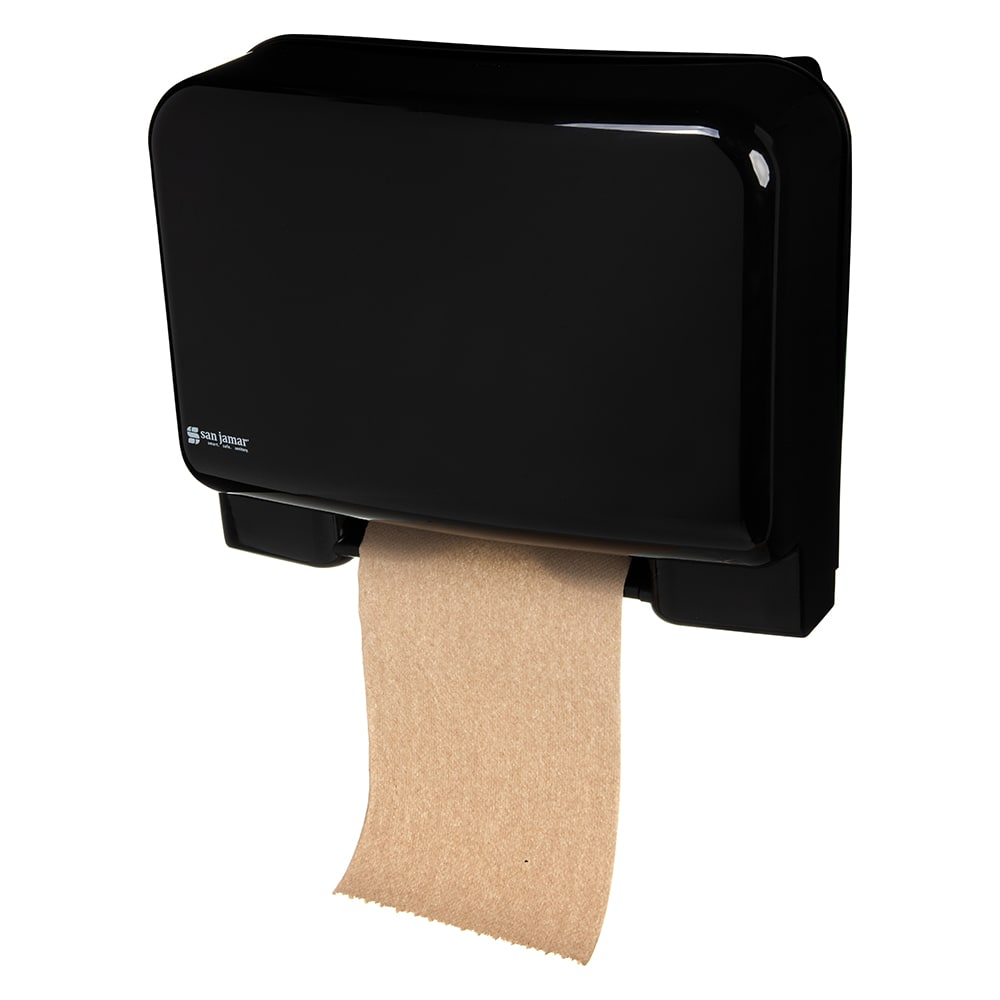 San Jamar T8008BKUNV Recessed Tear-n-Dry Paper Towel Dispenser - Touchless, Black
