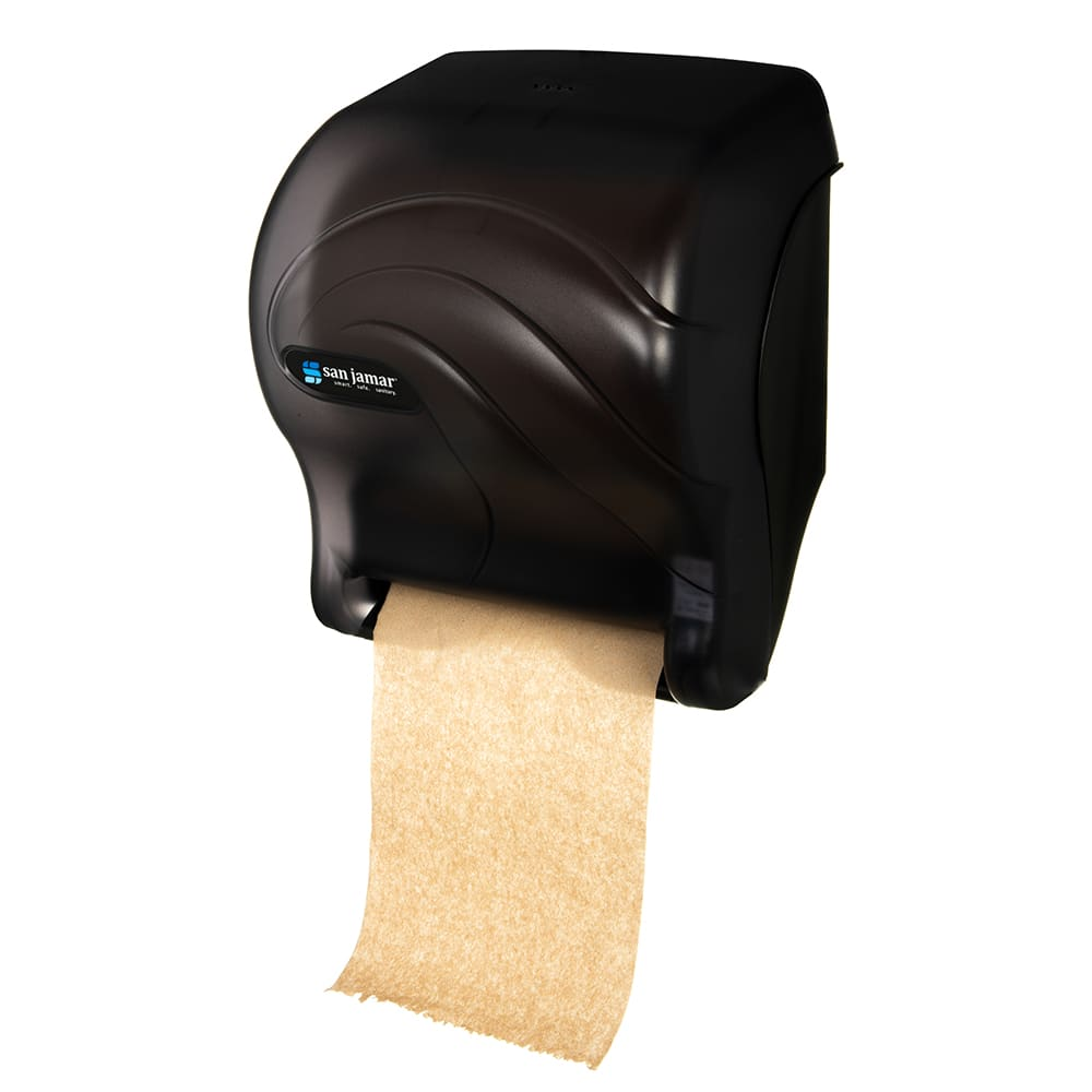 San Jamar T8090TBK Tear-N-Dry Essence Oceans Wall Towel Dispenser - Touchless, Wide Roll, Black Pearl