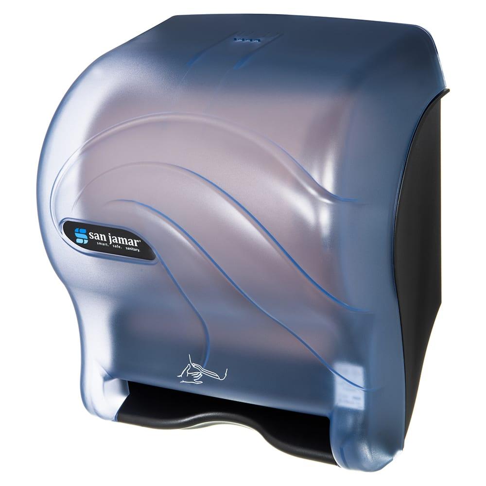 San Jamar T8490TBL Smart Essence Oceans Wall Towel Dispenser - Touchless, Wide Roll, Arctic Blue