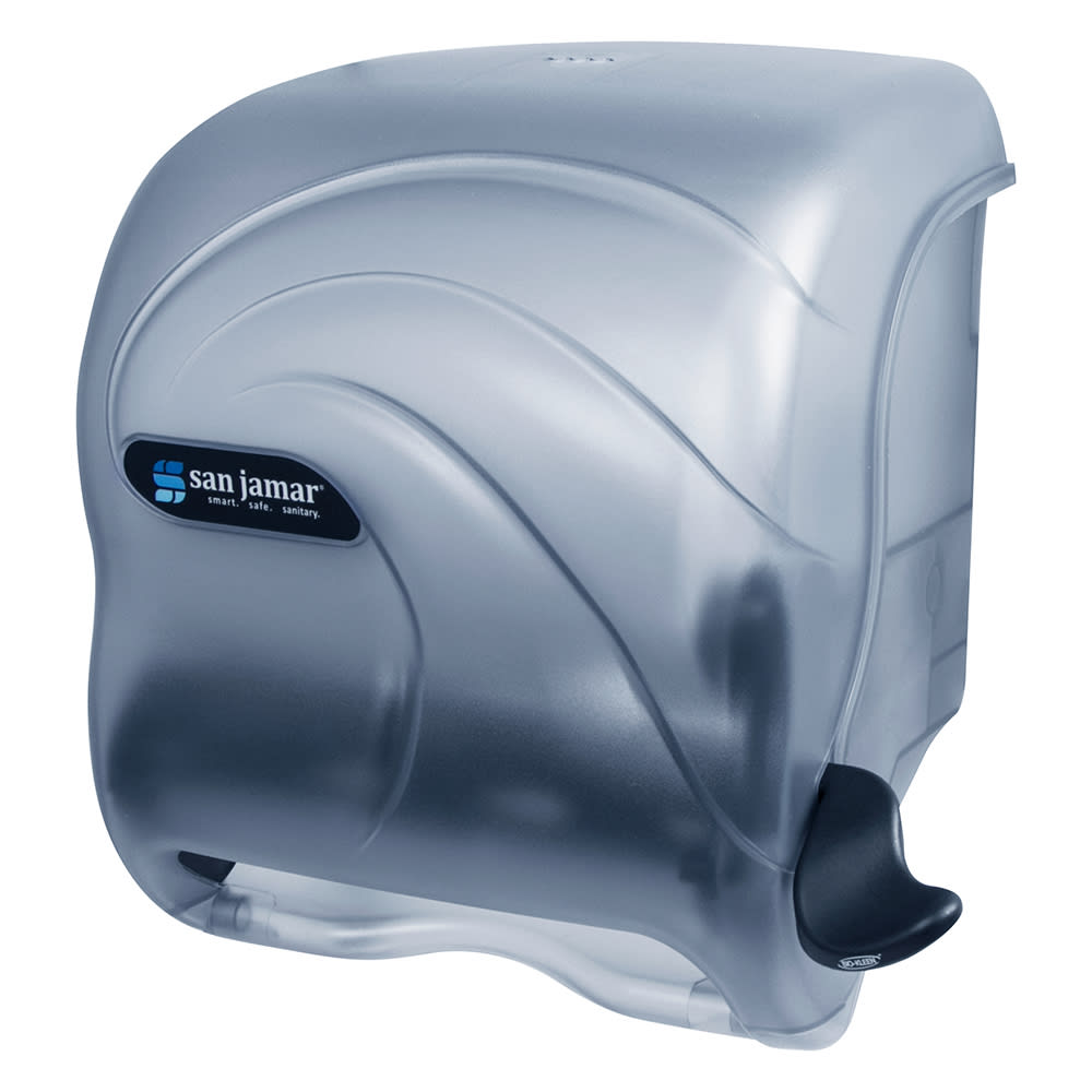 San Jamar T990TBL Oceans Element Wall Towel Dispenser - Lever Action, Wide Roll, Arctic Blue