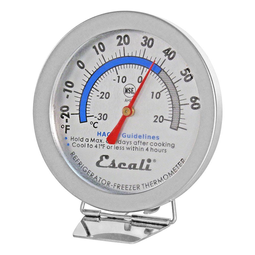 "San Jamar THDLRFSS Escali 2.88"" Dial Refrigerator/Freezer Thermometer w/ -20° to 70°F Temperature Range"