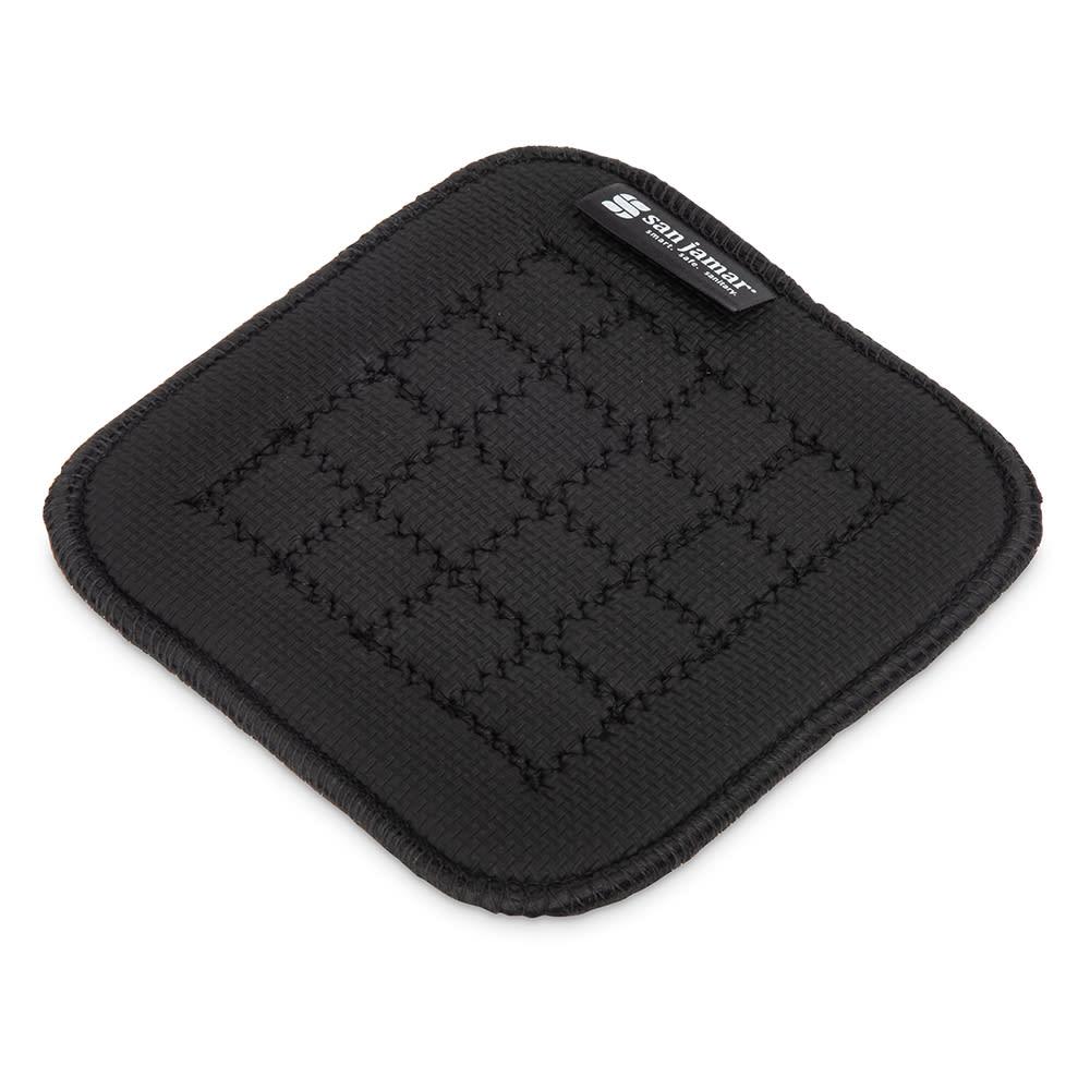 "San Jamar UHP55BK Hot Pad - Non-Slip Textured, 5.5x5.5"", Black"
